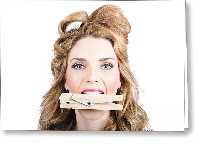 Over Sized Greeting Cards - Comical pinup girl with big laundry peg in mouth Greeting Card by Ryan Jorgensen