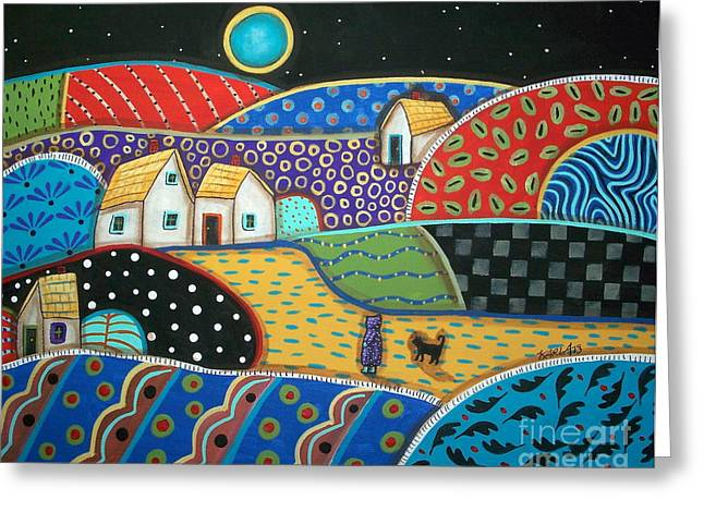 Folk Art Landscapes Greeting Cards - Coming Home Greeting Card by Karla Gerard