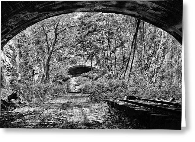 Light At The End Of The Tunnel Greeting Cards - Coming Out BW Greeting Card by JC Findley