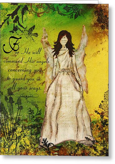 Bible Mixed Media Greeting Cards - Command His Angels Greeting Card by Janelle Nichol