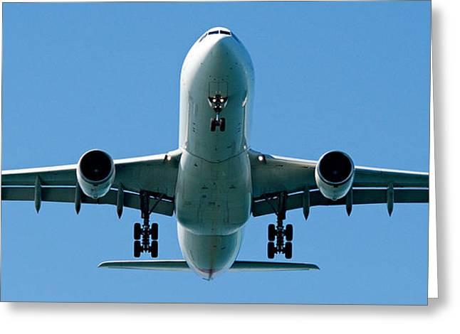 Commercial aircraft at Sydney Airport Greeting Card by Geoff Childs