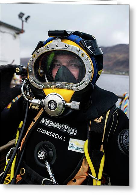 Commercial Diver In Diving Suit Greeting Card by Louise Murray