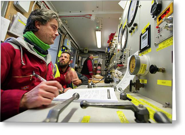 Commercial Diving Control Room Greeting Card by Louise Murray