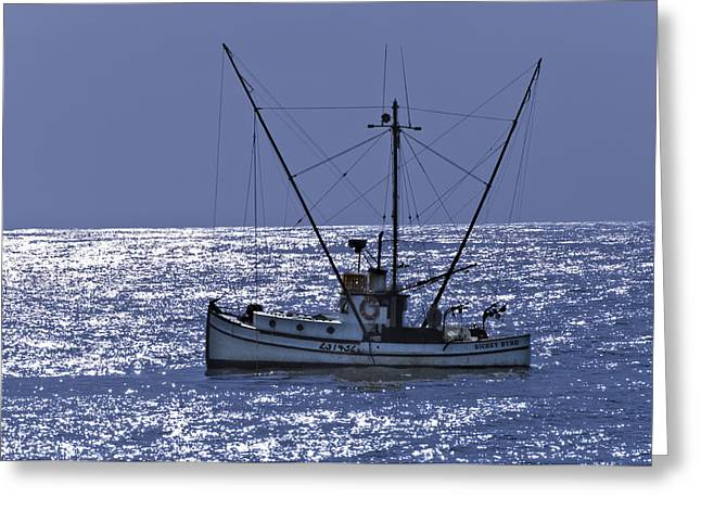 Half Moon Bay Greeting Cards - Commercial Fishing Boat Dickey Byrd Out Of Half Moon Bay Greeting Card by Scott Lenhart