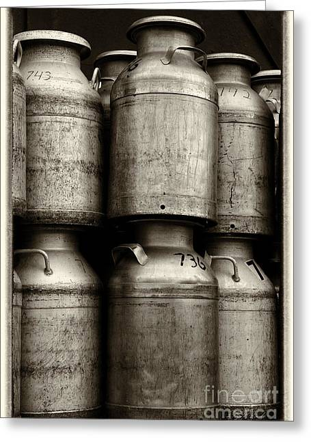 Canned Food Greeting Cards - Commercial Milk Cans Black and White Greeting Card by Iris Richardson
