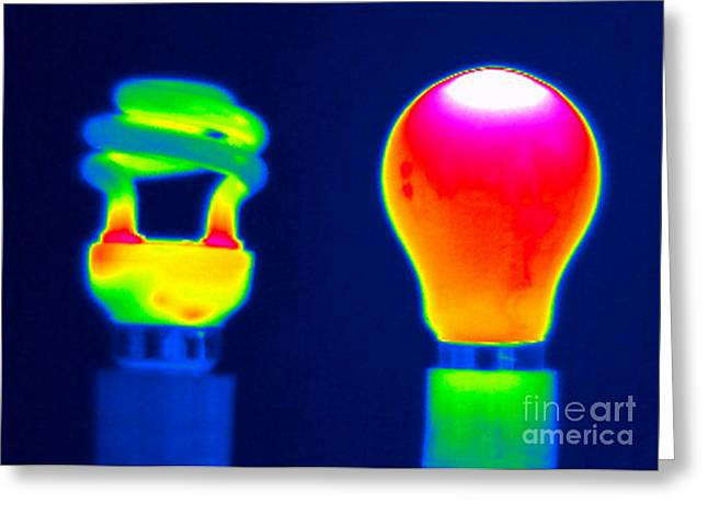 Energy Efficient Greeting Cards - Comparing Light Bulbs, Thermogram Greeting Card by Tony McConnell