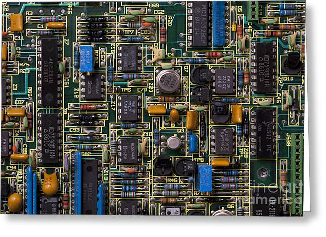Harddrive Greeting Cards - Computer Circuit Board Greeting Card by Jim Corwin