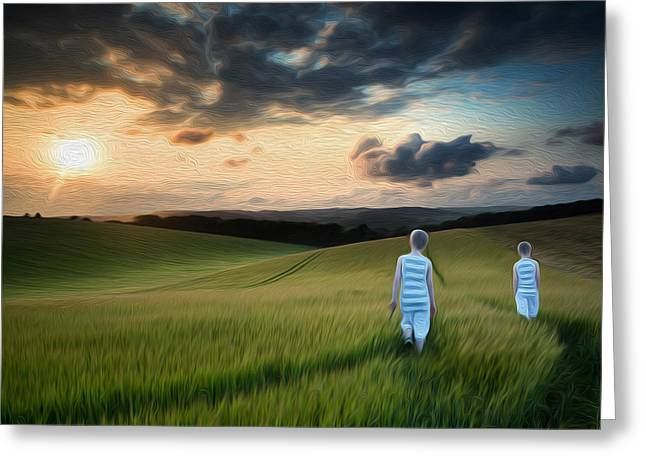 Concept landscape young boys walking through field at sunset in  Greeting Card by Matthew Gibson