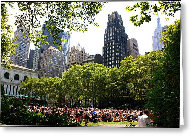 Bryant Park Greeting Cards - Concert at Bryant Park Greeting Card by  Photographic Art and Design by Dora Sofia Caputo