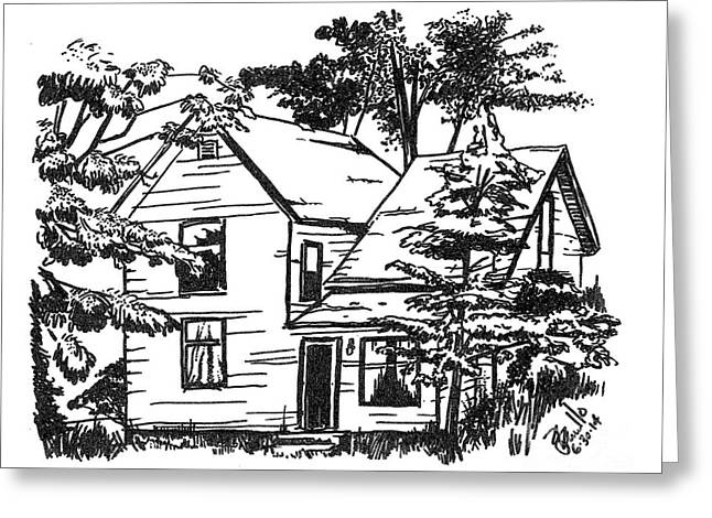 Abandoned Houses Drawings Greeting Cards - Condemned Greeting Card by Andooga Design
