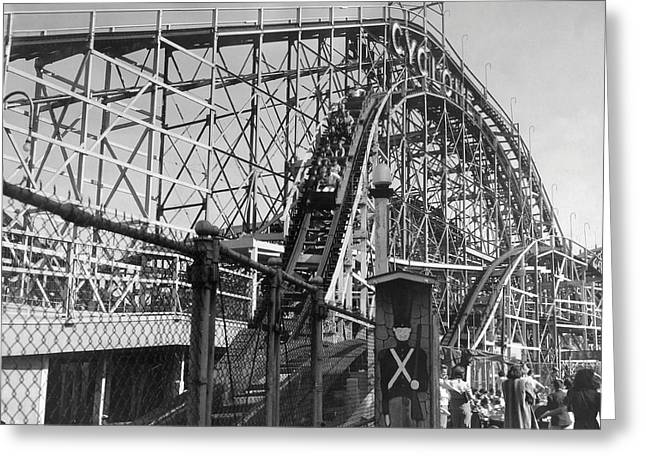 Coney Island - Cyclone Roller Coaster Greeting Card by MMG Archives