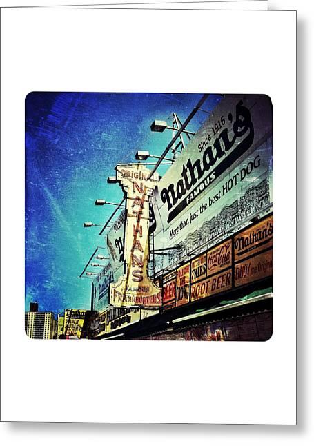 Nathans Greeting Cards - Coney Island Grub Greeting Card by Natasha Marco