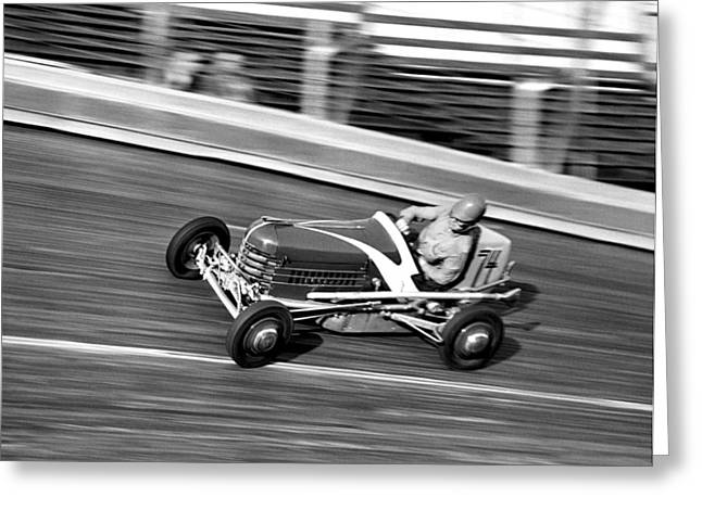 Land Speed Racing Greeting Cards - Coney Island Midget Race Car Greeting Card by Underwood Archives
