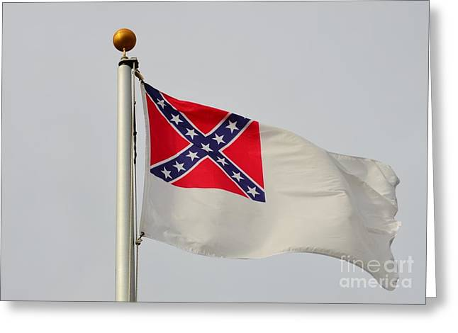 Slavery Greeting Cards - Confederate Civil War Flag Greeting Card by Bob Sample