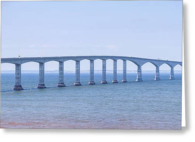 Ocean Panorama Greeting Cards - Confederation Bridge panorama Greeting Card by Elena Elisseeva
