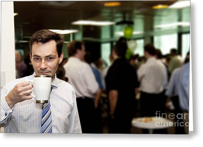 Holding Staff Greeting Cards - Conference Coffee Break Greeting Card by Ryan Jorgensen