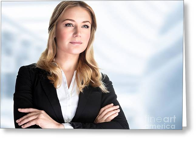 Business Women Greeting Cards - Confident business woman Greeting Card by Anna Omelchenko