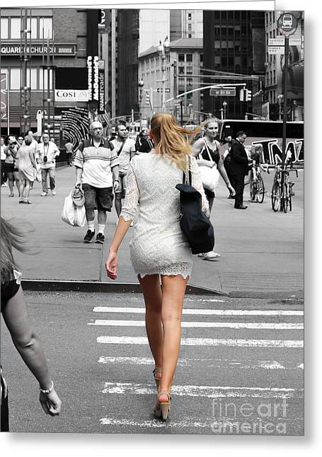 Crosswalk Greeting Cards - Confident Woman Greeting Card by Robert Yaeger