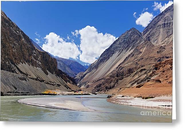 Confluence Of Zanskar And Indus Rivers - Leh Ladakh India Greeting Card by Rudra Narayan  Mitra