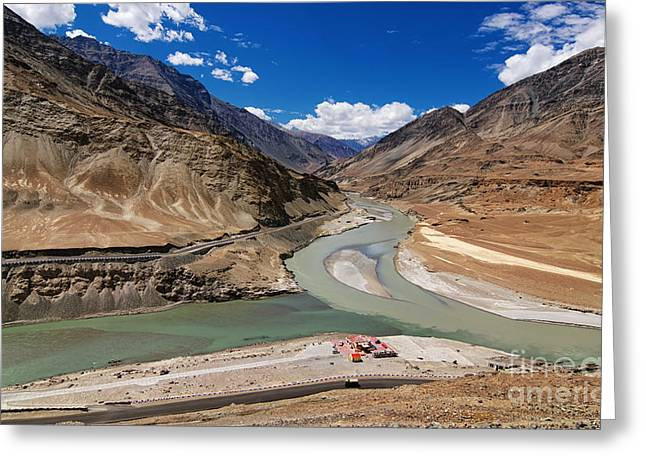 Indus Valley Greeting Cards - Confluence of Zanskar and Indus rivers Leh Ladakh India Greeting Card by Rudra Narayan  Mitra