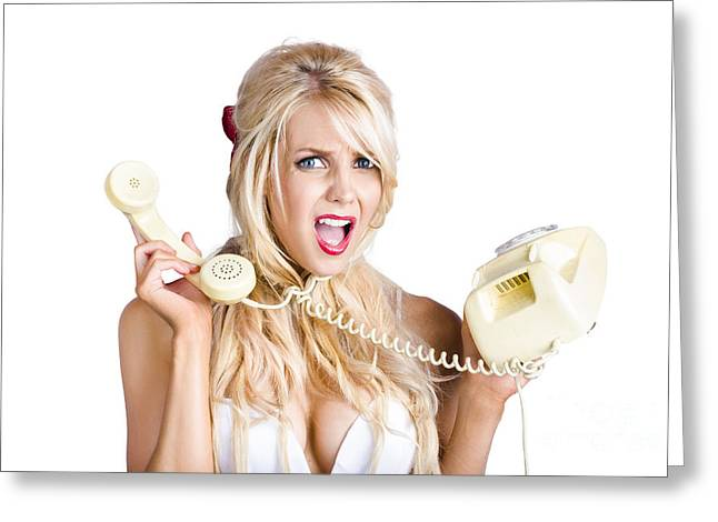 Unsure Greeting Cards - Confused woman with retro phone Greeting Card by Ryan Jorgensen