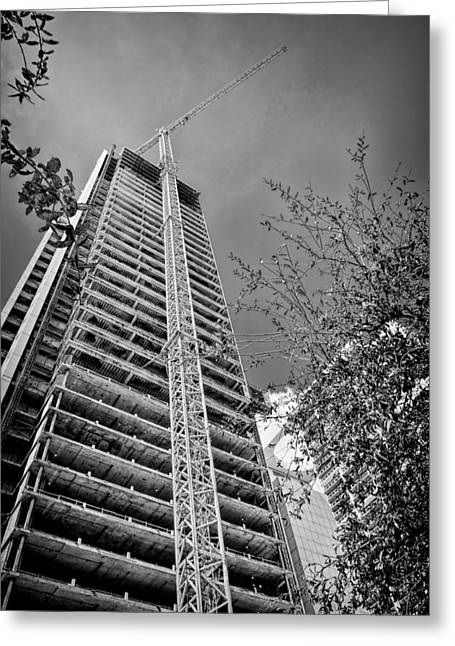 Tower Crane Greeting Cards - Construction Site Greeting Card by Rudy Umans
