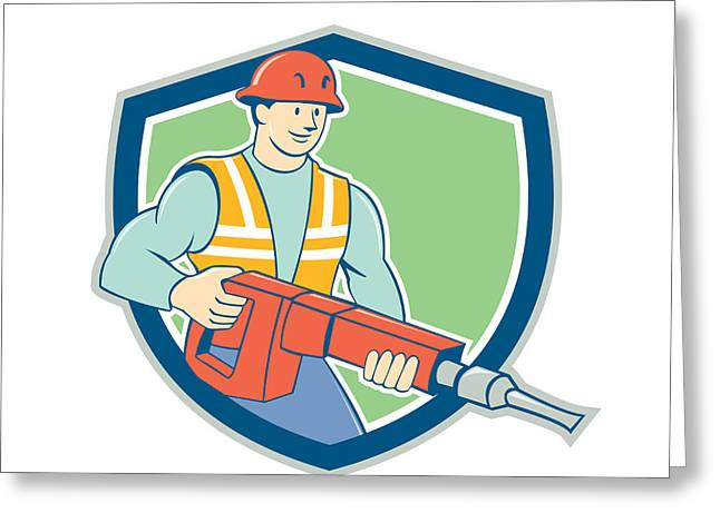 Jackhammer Greeting Cards - Construction Worker Jackhammer Shield Cartoon Greeting Card by Aloysius Patrimonio