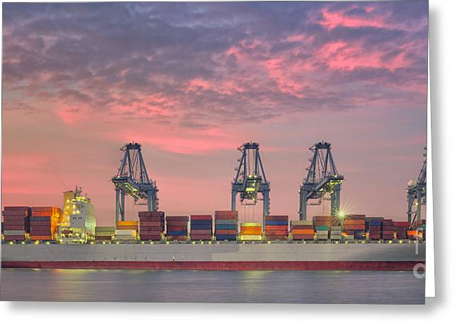 Kobe Photographs Greeting Cards - Container Cargo freight ship with working crane loading bridge i Greeting Card by Anek Suwannaphoom