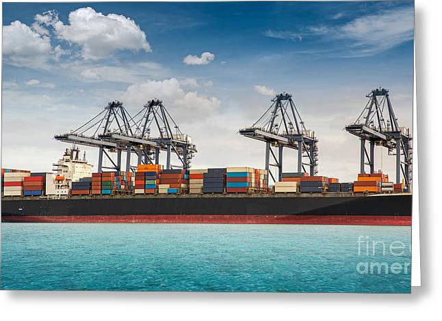 Carrier Greeting Cards - Container ship berthing port Greeting Card by Anek Suwannaphoom