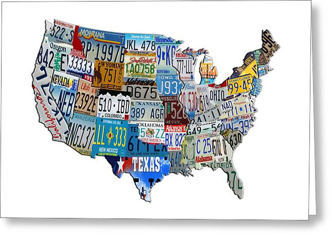 Tn Mixed Media Greeting Cards - Continental USA License Tag Map Greeting Card by Brian Reaves