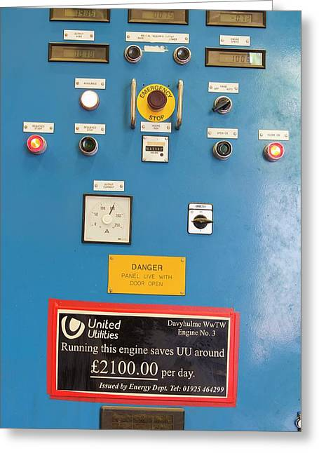 Control Panels For The Biogas Boilers Greeting Card by Ashley Cooper