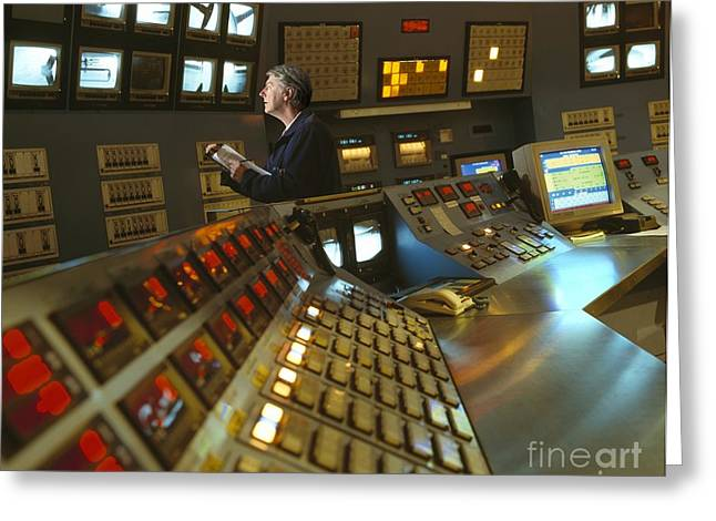 Control Room In A Float Glass Factory Greeting Card by David Parker