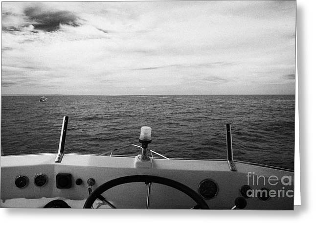 controls on the flybridge deck of a charter fishing boat in the gulf of mexico out of key west flori Greeting Card by Joe Fox