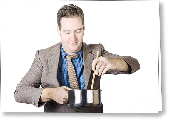 Stir Greeting Cards - Cooking man stirring food with wooden spoon Greeting Card by Ryan Jorgensen