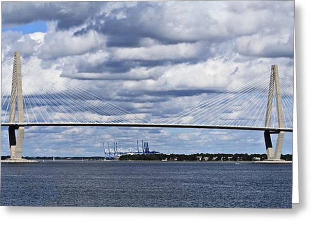 Cable-stayed Bridge Greeting Cards - Cooper River Bridge Greeting Card by Stephanie Frey