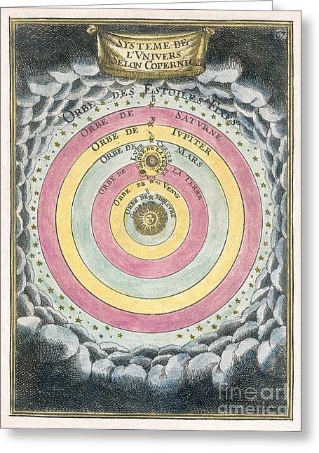 1690 Greeting Cards - Copernican Solar System, 1690 Artwork Greeting Card by Detlev van Ravenswaay