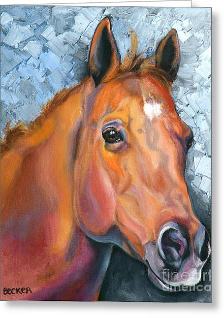 Quarter Horses Greeting Cards - Copper Glow Greeting Card by Susan A Becker