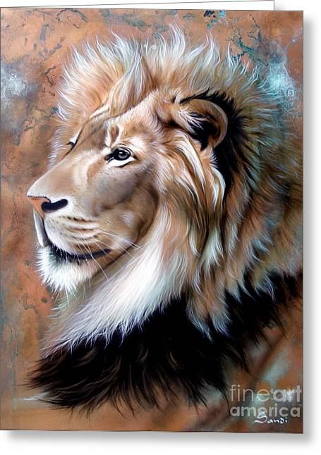 Copper Greeting Cards - Copper King - Lion Greeting Card by Sandi Baker