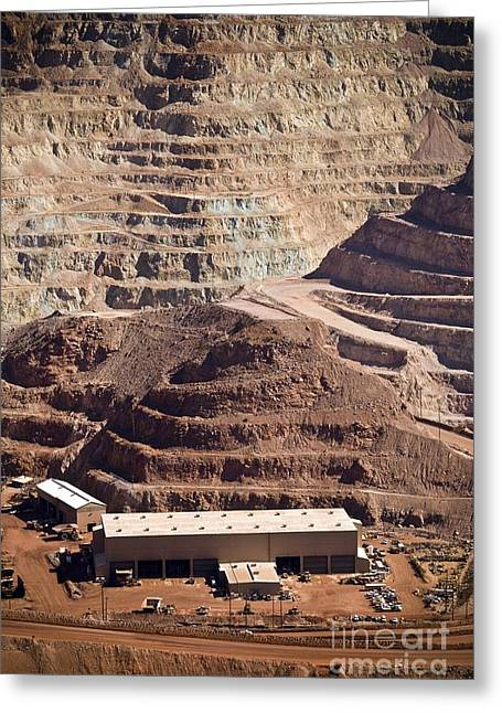 Mine Pit Greeting Cards - Copper Mine Buildings, Arizona, Usa Greeting Card by Arno Massee