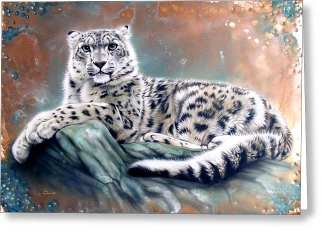 Copper Greeting Cards - Copper Snow Leopard Greeting Card by Sandi Baker
