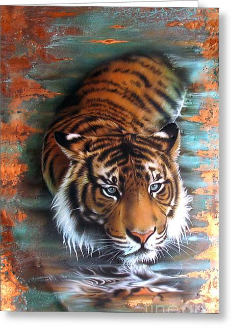 Copper Greeting Cards - Copper Tiger II Greeting Card by Sandi Baker