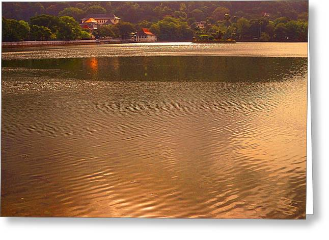 Bank; Clouds; Hills Greeting Cards - Copper Waters of Kandy Lake. Kandy. Sri Lanka Greeting Card by Jenny Rainbow
