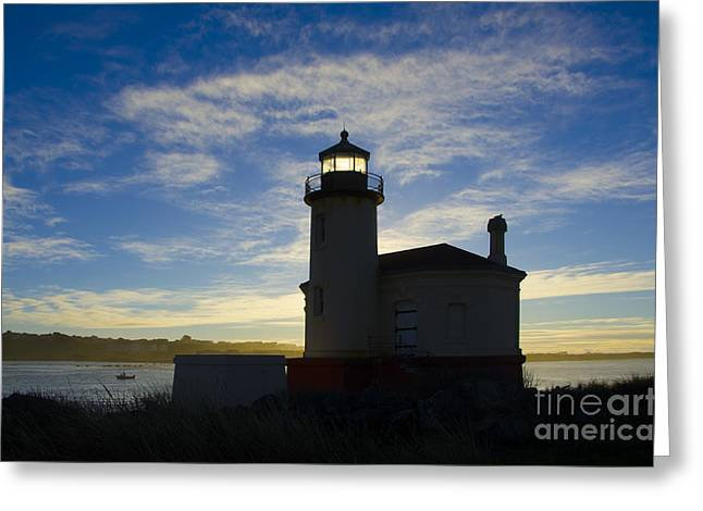 Lighthouse By The Sea Greeting Cards - Ghost Light Coquille River Lighthouse Oregon 2 Greeting Card by Bob Christopher