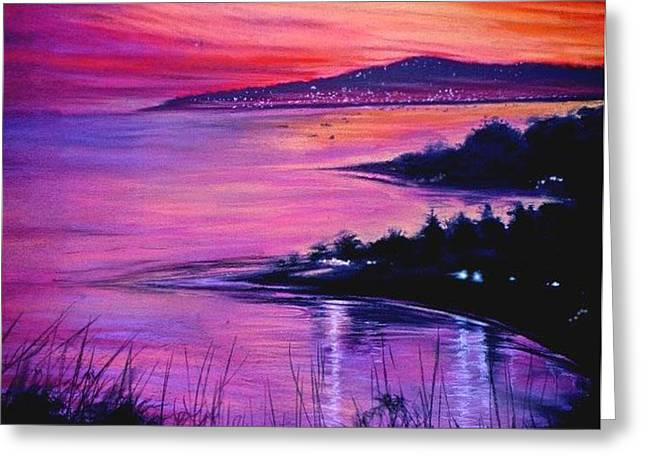 Rincon Paintings Greeting Cards - Coral Bluff Greeting Card by BizzyBzzz