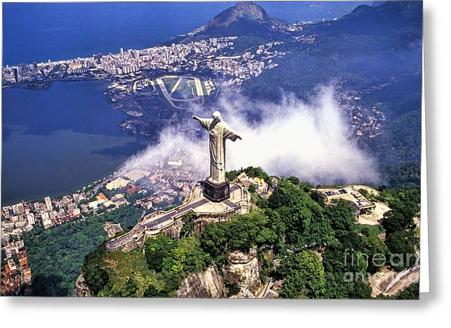 Jesus Christ Icon Greeting Cards - Corcovado Christ Statue In Rio De Greeting Card by Bill Bachmann