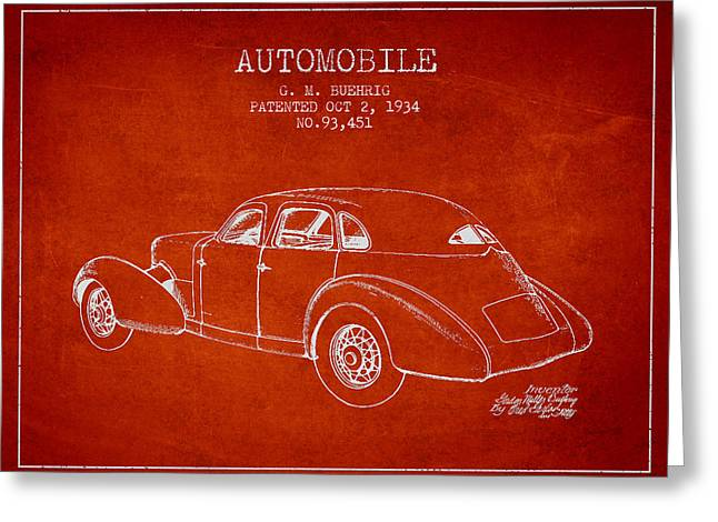 Driving Greeting Cards - Cord Automobile Patent from 1934 Greeting Card by Aged Pixel