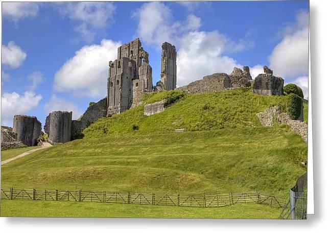 Corfe Castle Greeting Card by Joana Kruse