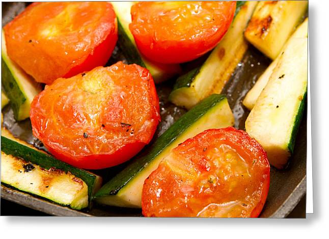 Saucepan Greeting Cards - Corgettes and tomatoes frying in a griddle pan Greeting Card by Fizzy Image
