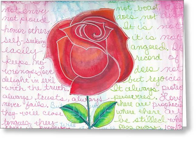 Bible Mixed Media Greeting Cards - 1 Corinthians 13 Rose Greeting Card by Dana Sorrell