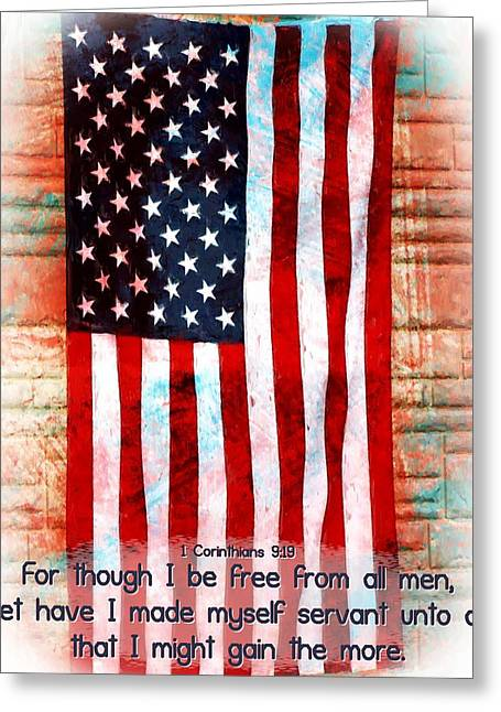 Patriots Framed Prints Greeting Cards - 1 Corinthians 9 19 Greeting Card by Michelle Greene Wheeler